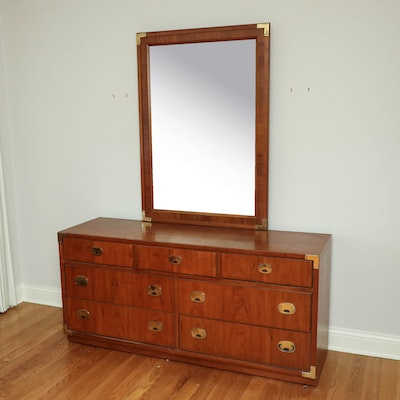 Thomasville Campaign Style Wood and Brass Dresser with Mirror