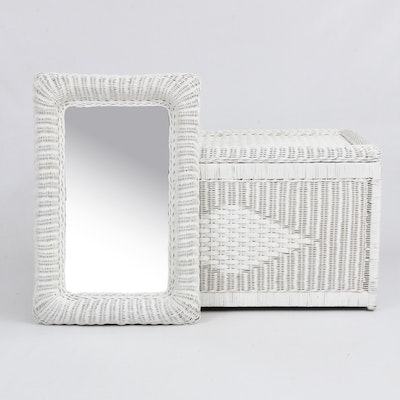 White Wicker Wall Mirror and Blanket Chest with Asian Inspired Brass Handles