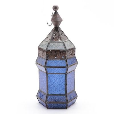 Blue Pressed Glass and Metal Hanging Lantern, 21st Century