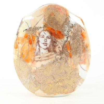 Carole Scott Metal Embellished Glazed Ceramic Vase, Late 20th Century