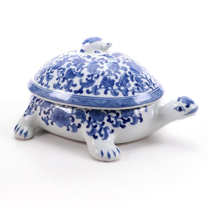 Chinese Blue and White Porcelain Decorative Turtle Shaped Lidded Box