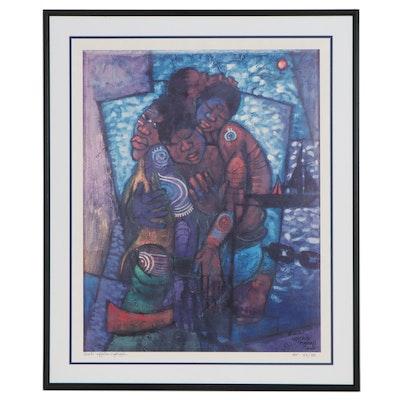Buchi Upjohn Aghaji Giclée of Embracing Figures, Circa 2001