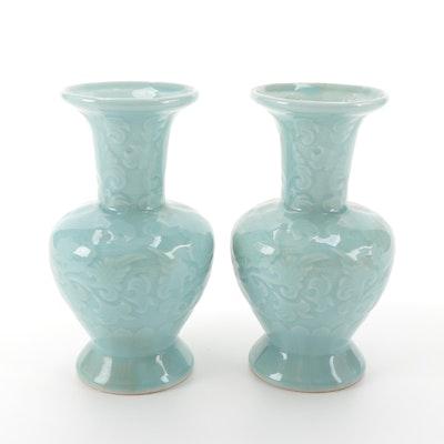 Japanese Floral Motif Celadon Ceramic Vases