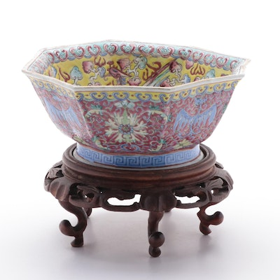 Chinese Famille Rose Dragon and Phoenix Porcelain Hexagonal Bowl