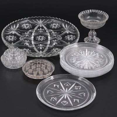 EAPG Ruffled Edge Compote and Other Glass Tableware and Flower Frogs