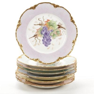 Haviland Hand-Painted Fruit Themed Porcelain Plates