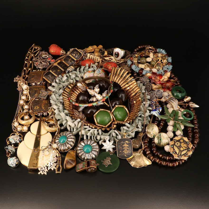 Asian Inspired Jewelry Including Shell, Opal and Mother of Pearl