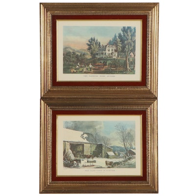 Currier & Ives Offset Lithographs of Farmyard and House, Late 20th Century