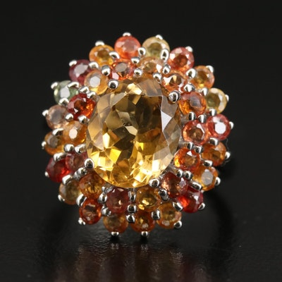 Sterling Silver Citrine and Sapphire Ring