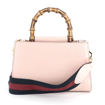 Gucci Mini Nymphaea Bamboo Pink Leather Web Strap Two-Way Bag