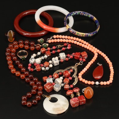 Jewelry Grouping Including Cloisonné, Tortoise Shell and Faux Coral