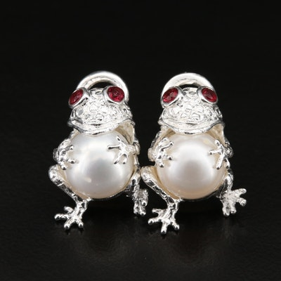 Sterling Frog Earrings with Pearl and Garnet