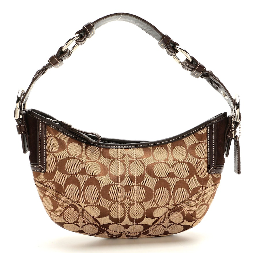 Coach Signature Canvas and Brown Leather Small Hobo Bag