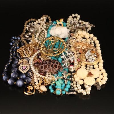 Jewelry Including Magnesite, Quartzite Specimen and Faux Pearl