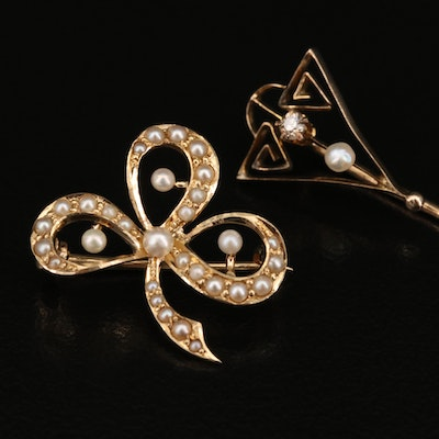 1930s 10K Diamond and Pearl Stick Pin with 14K Pearl Clover Converter Brooch