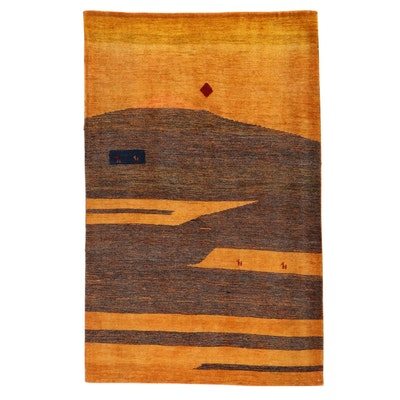 3'11 x 6'2 Hand-Knotted Persian Gabbeh Rug, 1990s