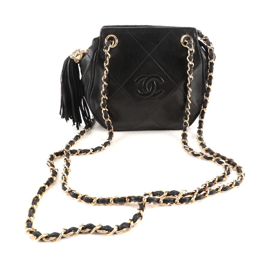 Chanel Mini CC Tassel Bag in Diamond Quilted Black Lambskin Leather