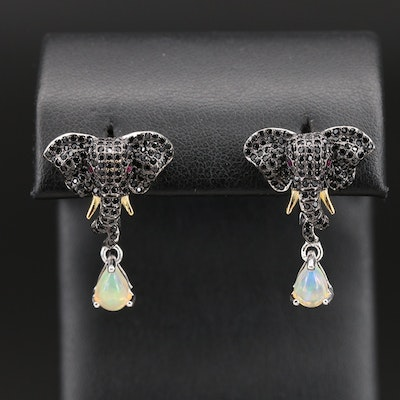 Sterling Elephant Earrings with Spinel, Ruby and Opal