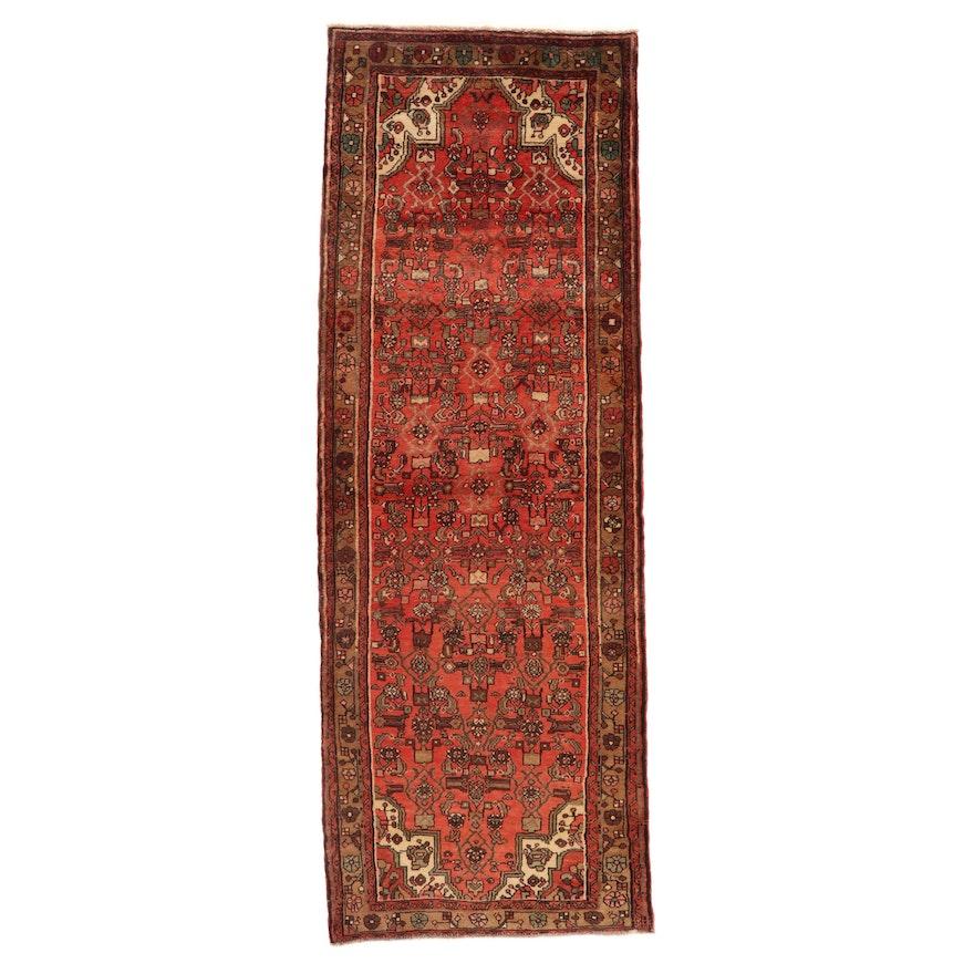 3'10 x 10'11 Hand-Knotted Persian Zanjan Long Rug, 1970s