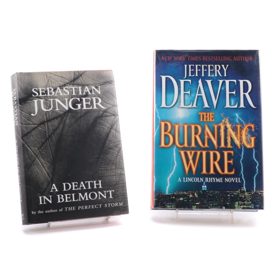 """Signed First Editions """"A Death in Belmont"""" and """"The Burning Wire"""""""
