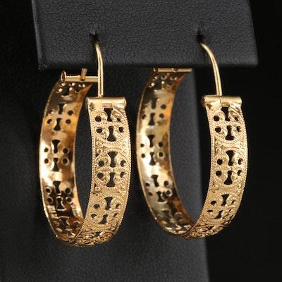 Italian 18K Openwork Hoop Earrings