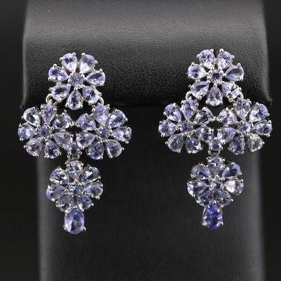 Sterling Tanzanite Floral Earrings
