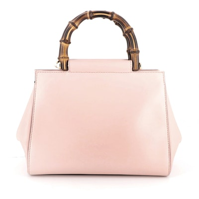 Gucci Nymphaea Bamboo Two-Way Top Handle Bag in Pink Leather
