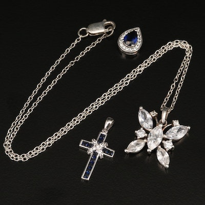 Sterling Pendant and Necklace Including Topaz, Sapphire and Cubic Zirconia