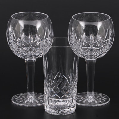 """Waterford Crystal """"Lismore"""" Balloon Wine Glasses and Highball Glass"""