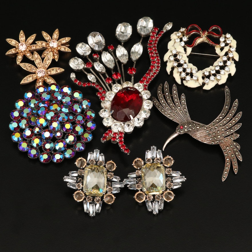 Vintage Rhinestone Brooches and Earrings Featuring Sterling Hummingbird
