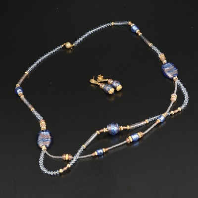 Rhinestone and Art Glass Jewelry Set