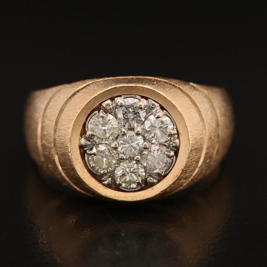 14K 1.05 CTW Diamond Ring with Brushed Finish.