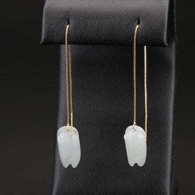 Sterling Jadeite Cicada Threader Earrings