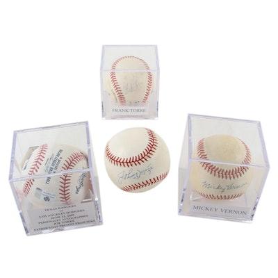 Mickey Vernon, Frank Torre, Joe Torre, and Johnny Mize Signed Baseballs, COAs