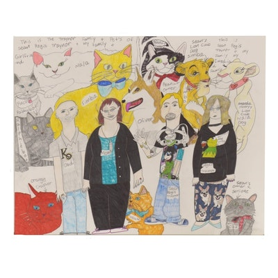 Sean Traynor Family Portrait Outsider Art Mixed Media Drawing
