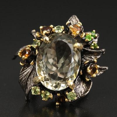 Sterling Silver Prasiolite, Citrine and Diopside Foliate Ring