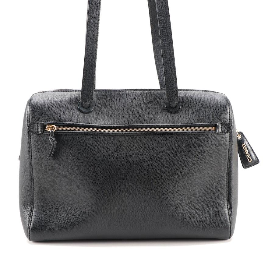 Chanel Logo Zip Shoulder Bag in Black Caviar Leather