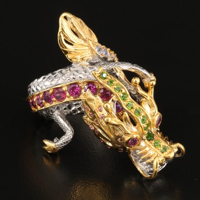 Sterling Silver Garnet, Diopside and Tanzanite Dragon Bypass Ring