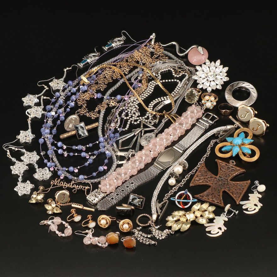 Jewelry Selection Featuring Faux Pearl and Rhinestone Accents
