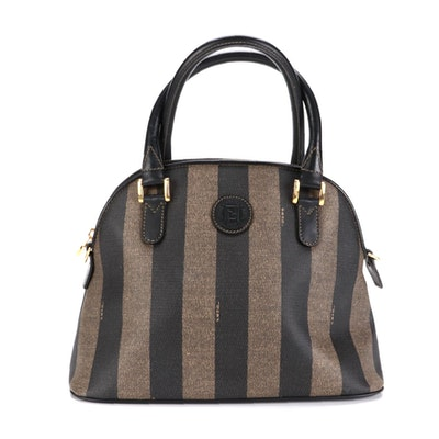 Fendi Domed Bag in Pequin Stripe Coated Canvas with Black Leather Trim