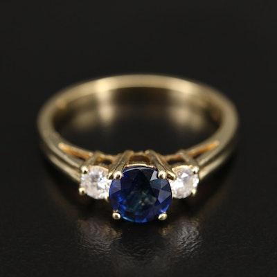 18K Sapphire and Diamond Three Stone Ring