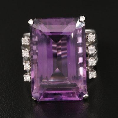 1960s 10K 17.38 CT Amethyst and Diamond Ring