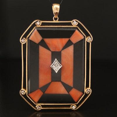 14K Diamond, Black Onyx and Coral Mosaic Pendant
