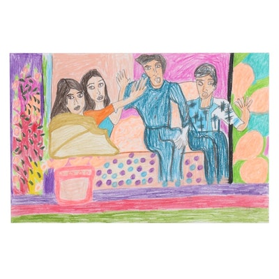 Wendy Davis Outsider Art Colored Pencil Drawing of Double Date