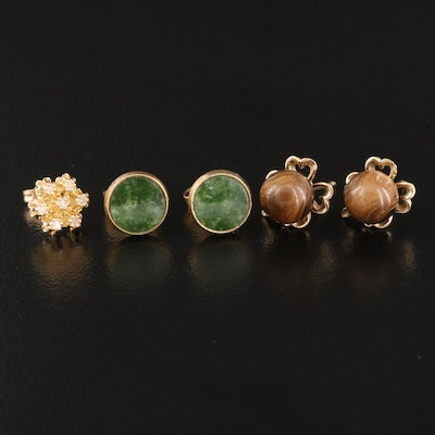 14K Earrings Featuring Diamond, Nephrite and Wood Accents