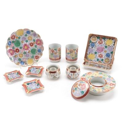 Japanese Kutani Thousand Flowers and Other Porcelain Tableware