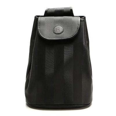 Fendi Pequin Sling Bag in Black Coated Canvas