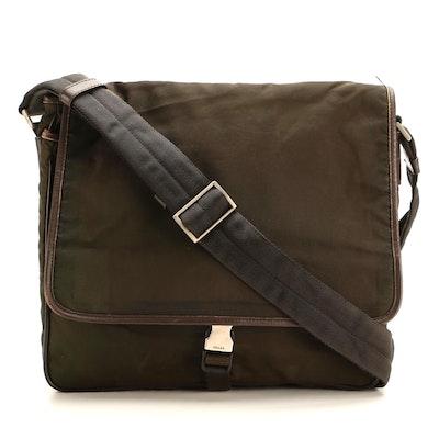 Prada Messenger Bag in Dark Olive Green Tessuto Nylon and Brown Saffiano Leather