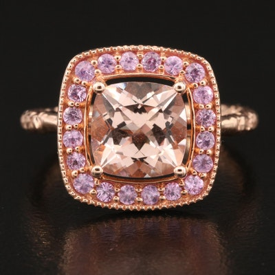 14K Rose Gold Morganite and Sapphire Ring with Diamond Cut Shank