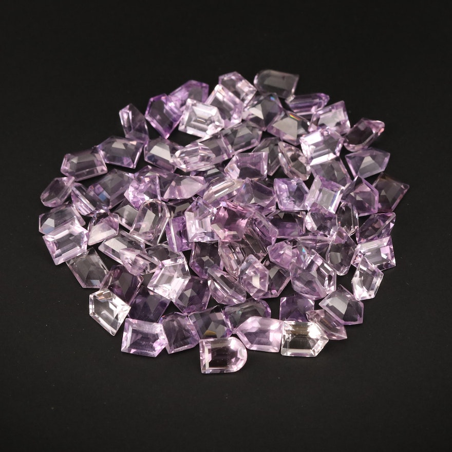 Loose 105.71 CTW Bullet and Window Faceted Amethysts